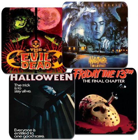 Vintage 1980s Horror Movie Poster Coasters Set Of 4. High Quality Cork Film Gift